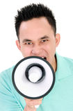 Man using megaphone Stock Image