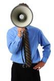 Man Using Megaphone. Businessman using megaphone isolated over a white background Royalty Free Stock Photo