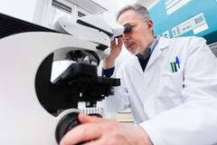 Man using a microscope in a laboratory. Man using a microscope in a chemical laboratory Stock Photos