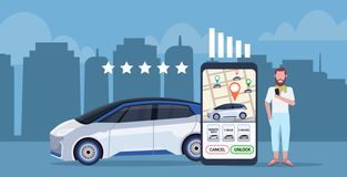 Man using mobile application leaving feedback taxi car sharing rating concept smartphone screen with city map. Transportation carsharing service app full length stock illustration