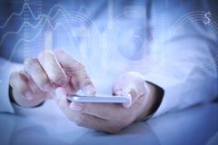 Man using mobile application on smartphone stock photos