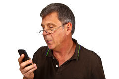 Man using the mobile Stock Photo