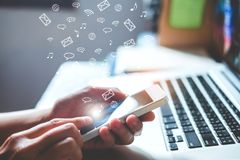 Man using mobile online  icon social networking connection on sc Stock Photography