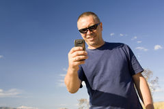The man using mobile phone Stock Image