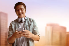 Man using mobile phone. Asian man using mobile phone Stock Photography