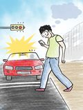 Man Using Mobile Phone While Crossing Road Illustration Royalty Free Stock Image