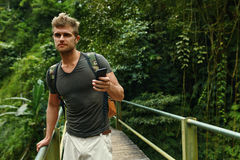 Man Using Mobile Phone, Smartphone In Nature. Travel, Tourism royalty free stock images