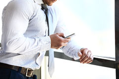 Man using mobile smart phone Royalty Free Stock Image