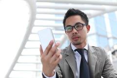 Man using mobile smart phone Royalty Free Stock Photo