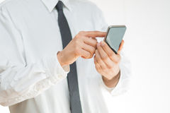 Man using a mobile smartphone Stock Photo