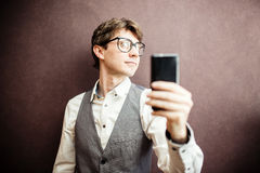 Man using mobile smartphone Stock Images
