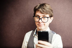 Man using mobile smartphone Stock Image