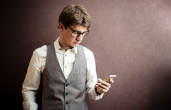 Man using mobile smartphone Royalty Free Stock Image