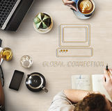 A man using notebook for global connection. Webpage Website Media Computer Icon Concept royalty free stock image