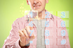 Man using numeric pad Royalty Free Stock Image