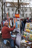Artist Painting in Montmartre, Paris, France royalty free stock photo