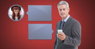 Man using phone with chat bubble messaging profile. Digital composite of Man using phone with chat bubble messaging profile royalty free stock photography