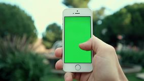 Man Using Phone in The Park at Sunny Day. Man Using Phone in the Park on the Background of the Fountain at Sunny Day stock footage