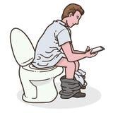 Man using phone in toilet Stock Photo