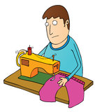 Man using sewing machine Royalty Free Stock Photography