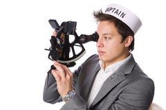Man using a sextant Stock Images