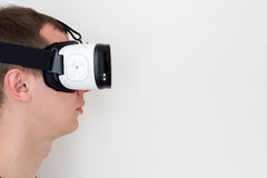 Man using smart glasses profile view Stock Photos