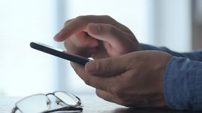 Man using smart phone. Close up of a  man using smart phone stock video