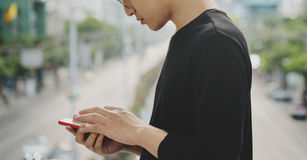 Man using smart phone connect communication Royalty Free Stock Photography