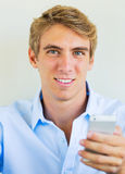 Man using smart phone, Texting Royalty Free Stock Photography