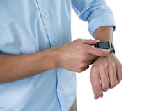 Man using smart watch Royalty Free Stock Photography