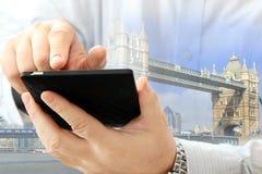 Man using smartphone Stock Image