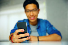 Man using smartphone Royalty Free Stock Image