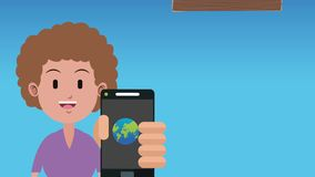 Time to travel HD animation. Man using smartphone to travel High definition colorful animation scenes stock footage