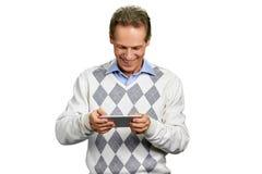 Man using smartphone on white background. Royalty Free Stock Photo