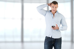 Man Using a Smartphone Royalty Free Stock Photography