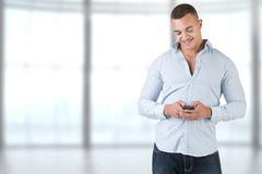 Man Using a Smartphone Stock Photo