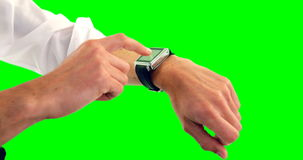 Man using smartwatch. Against white background 4k stock video footage