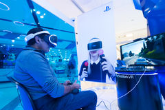 Man using  Sony Play station VR. SEOUL - MARCH 29, 2017: A man uses PlayStation VR at the Hyundai IPark mall. PlayStation VR is a virtual reality headset Royalty Free Stock Image