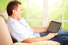 Man using tablet Royalty Free Stock Image