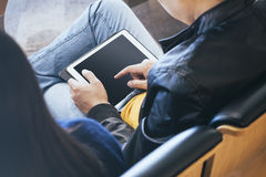 Man Using Tablet with Blank screen Social Media concept Royalty Free Stock Image