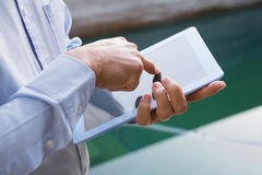 Man using tablet. Close up of man using tablet Royalty Free Stock Photography