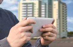 Man using tablet pc computer Stock Photos