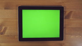 Man Using Tablet PC with Green Screen stock footage