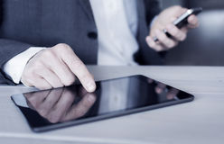 Man using tablet pc on the office Royalty Free Stock Image