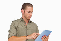 Man using tablet pc Stock Images