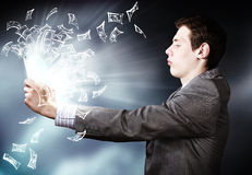 Man using tablet pc Royalty Free Stock Images