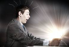 Man using tablet pc Stock Photo