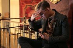 Man using tablet Stock Photo