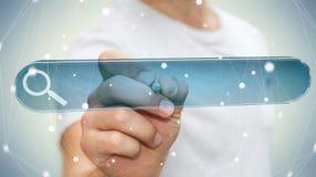 Man surfing on internet using tactile web address bar 3D renderi. Man using tactile interface web address bar to surf on internet 3D rendering Stock Photos