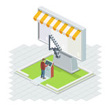 The man using it technologies. The Big Isometric vector screen with a cursor and a terminal Royalty Free Stock Image